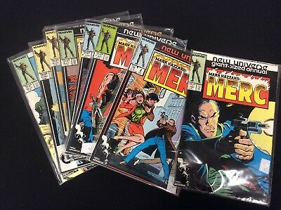 "8) Marvel Mark Hazzard ""MERC"" Comic Books ~ #'s 1-1987, 4 & 7-12"