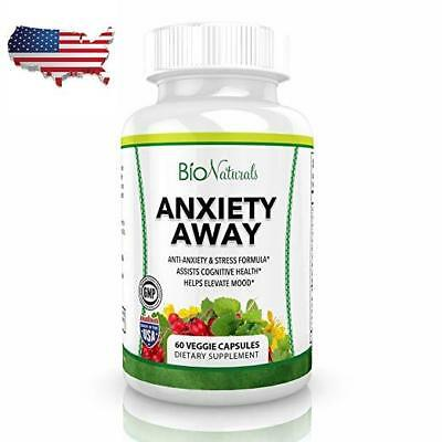 60 Veggie Capsules Anxiety Away Anti Anxiety & Stress Relief Supplement NEW US