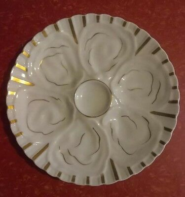 """Vintage Heavy 9"""" Oyster Plate White W/gold Accents Unmarked Excellent Condition"""