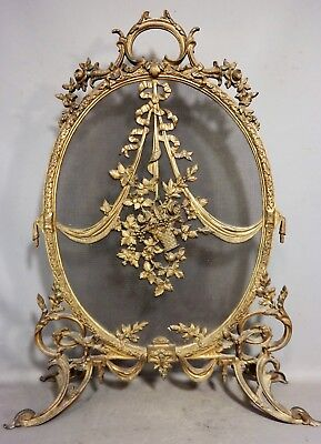 Antique ART NOUVEAU BRONZED FLOWER BASKET Rococo LOUIS XVI Fireplace FIRE SCREEN