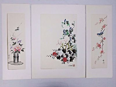 Japanese Chinese Silk Wall Hanging Signed Floral Bird Pink Blue
