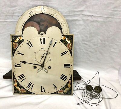Antique Rolling Moon Longcase Grandfather Clock Dial Movement GRIFFITH DENBEIGH