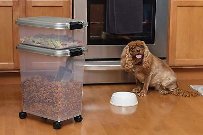 3 Piece Pet Food Storage Container Combo Chrome Plastic Airtight Dog Cat NEW