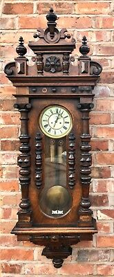 Massive Antique Keyhole Double Weighted Walnut Vienna Wall Clock 8 Day