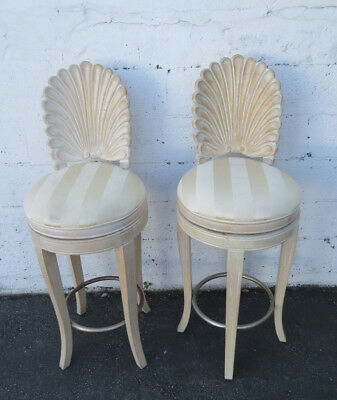 Hollywood Regency Grotto Scalloped Shell Pair of Bar Stool Swivel Chairs 9345