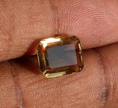 3.15 Ct Natural Scapolite Loose Gemstone(Video)Golden Yellow Faceted Emerald Cut