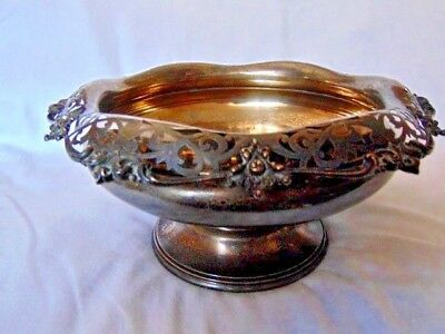 Sterling Silver Antique Pedestal Bowl Filagreed Edge Total Weight 28.3 Ounces