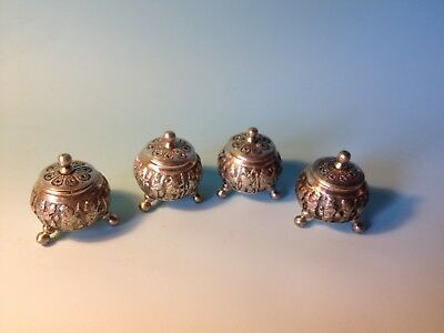 Four Footed Antique Russian Ag 84 Silver Spice / Besamim Etrog Boxes Judaica