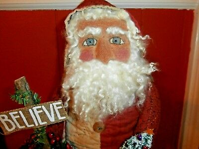 "Handmade Primitive Santa 20"" tall from old quilt, handmade face, sheep OOAK"