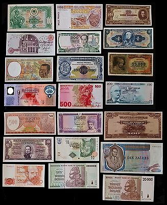 Worldwide LOT  X 21 BANKNOTES UNC HUGE VALUE  FREE SHIPPING