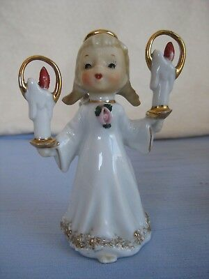 Vintage Lefton Japan Christmas Girl Angel with Candles Spaghetti Gold Trim