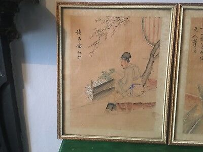 Pair Of  Antique Japanese Pencil On  Silk Drawings Signed On Chop