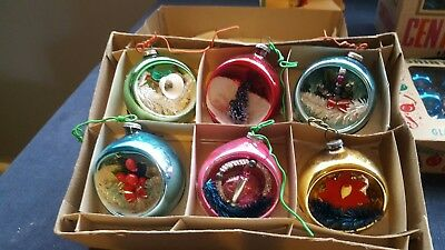 """Lot Of Vintage""""Scene & Glass""""Christmas Ornaments & Tree Topper/table Decor/boxes"""
