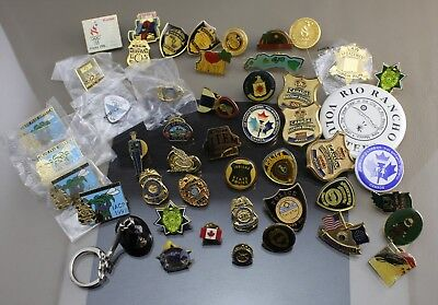 "Vintage ""Police Mini Shield Badge Hawaii Olympic"" Mixed Lapel Pin Lot of 47"