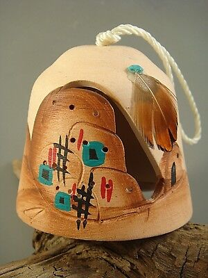 Vintage NAVAJO ARTIST SIGNED Hand-Painted Pottery BELL w/ Turquoise & Feather