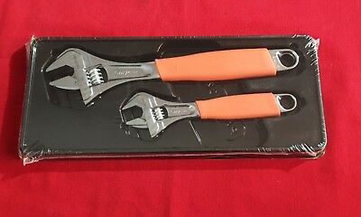Snap On FADH702 Adjustable Wrench Set 2pc Orange Flank Drive  Cushion Grips New!
