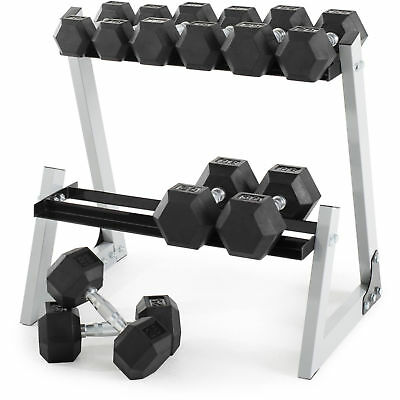 NEW Weider 200 lb Rubber Hex Dumbbell Weight Set 10-30 lb with Rack Gym Fitness
