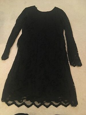 Black Lace Maternity Dress Size Large Party Christmas Dress