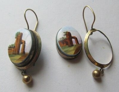 Antique Victorian DANGLE DROP Gold Filled EARRINGS Painted ENAMEL As Found