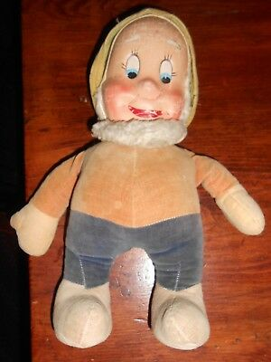 "1930s 12"" HAPPY SEVEN DWARF - COMPOSITION FACE AND VELVET OUTFIT - VERY CUTE"