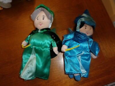 disney plush sleeping beauty plush set 2 blue green fauna merryweather godmother