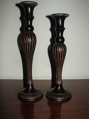 """Vintage Pair * Set of 2 Tall Brass or Bronze Candle Stick Holders - 12"""" & 13.5"""""""