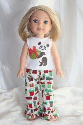 Doll Clothes fits 14inch American Girl Wellie Wishers Christmas Pajamas Panda