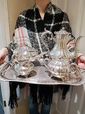 "Superb antique silver plated tea set with the tray  by ""Viners of Sheffield"""