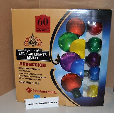 Member's Mark  super bright LED G40 Lights with 8-Function Controller, 60 Count
