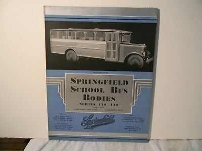1920's Springfield School Bus Bodies Dealership Fold Out Brochure Rare