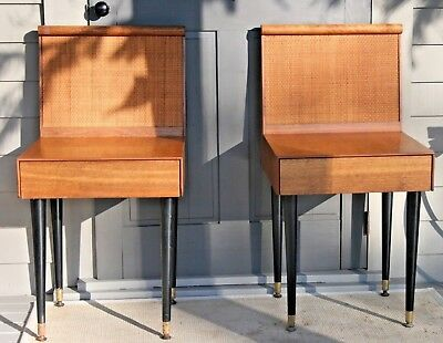 Cane Teak Wood Mid Century Modern (2) Pair End Table / Nightstands Brown Saltman