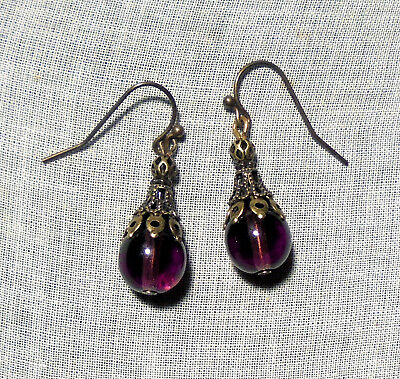 Filigree Amethyst Purple Plum Glass Earrings Renaissance Edwardian Victorian