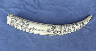 "Vintage Replica Resin Scrimshaw 17"" Walrus Tusk ""Tempest"", New Bedford"