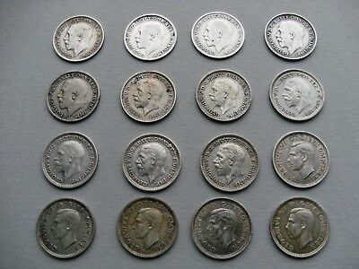 King George V, and King George VI - Sixteen  Silver Threepence Coins.
