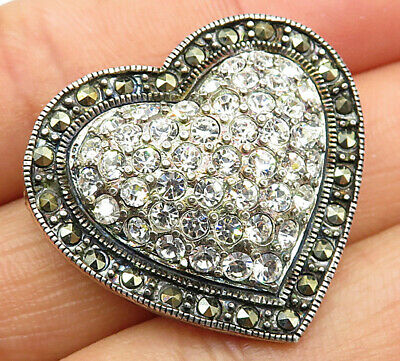 Vintage Marcasite Love Heart Brooch Pin 925 Sterling Silver Bp1369
