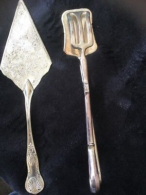 VINTAGE SILVER PLATED SALAD CAKE SERVER SCISSORS TONGS Set Two Items