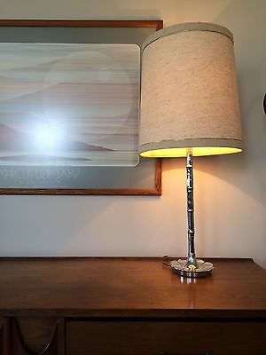 Vintage Mid Century Modern Hollywood Regency Chrome Bamboo Table Lamp Tyndale