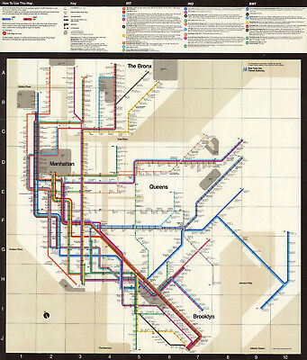 "New York Subway Map 1972 The Metropolitan Massimo Vignelli 11""x14"" Art Poster"
