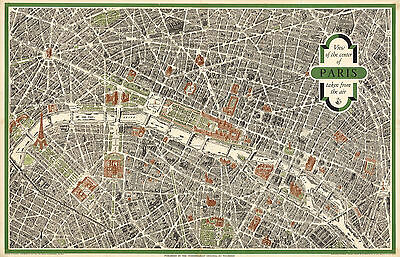 Historic Map Central Paris View Taken from the Air Wall Art Poster Print Vintage