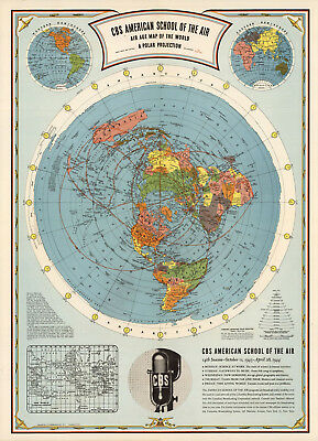 1944 Flat Earth Air Age Map of the World Azimuthal Equidistant Polar Projection