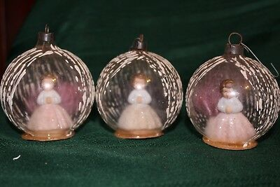 Vintage Antique Glass Christmas Ornaments Clear Glass with Figurines Lot Of 3