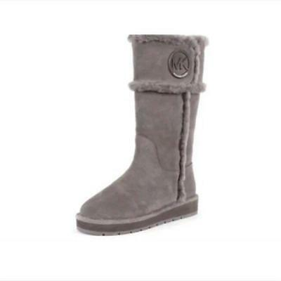 abe29fe0e3cc0 Michael Kors Women s Gray Genuine Sheep Fur Winter Boots Sz 6M Leather  Upper New