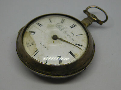 Antique Silver Verge Fusee Pair Cased Pocket Watch For Spare Parts.