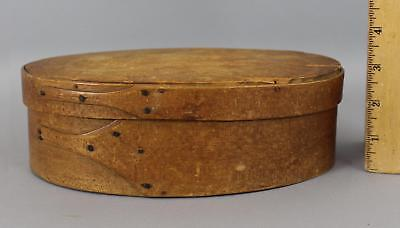 RARE Antique 19thC SHAKER American Primitive Oval Wood 1-Finger Pantry Box