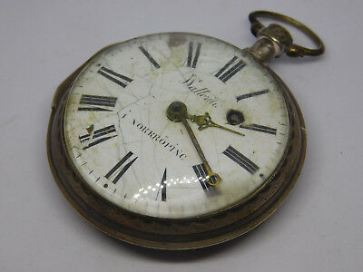 Antique Silver Verge Fusee Large Pocket Watch For Spare Parts.