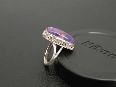 925 STERLING SILVER PURPLE TURQUOISE RING size N (US 6.5)