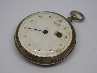 Antique Silver Verge Fusee Pocket Watch For Spare Parts.