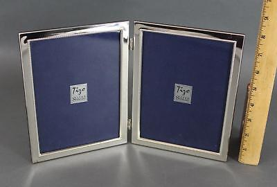 Quality Tizo Italian Sterling Silver 5x7 Double Photograph, Hinged Frame, NR