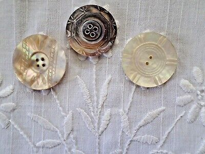 "Vintage Carved MOP Mother of Pearl Large Buttons 1-1/2"" Smoky Lot of 3  LotB"