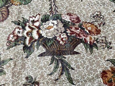 Early c1830-40s Chintz Quilt FABRIC Broderie Perse Antique Baskets Flowers GLAZE